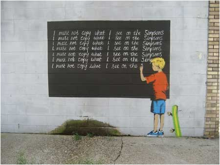 banksy  Must Not Copy What I See on The Simpsons Graffiti – New Orleans, USA