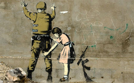 Banksy Stop and Search Girl and Soldier - Bethlehem, Israel