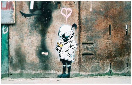banksy Space Girl With Bird Graffiti – Chicago, USA