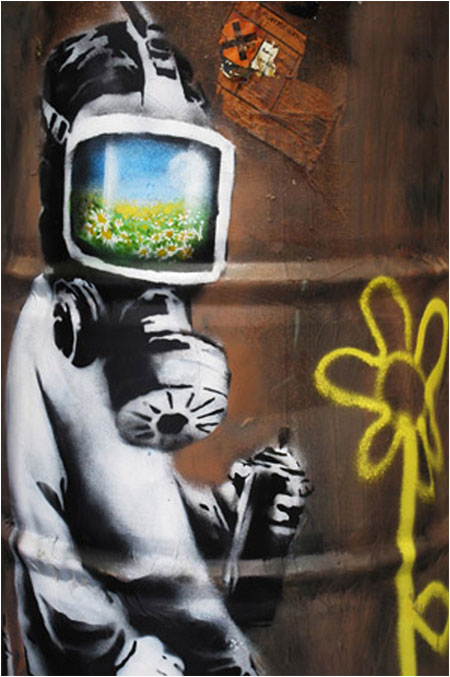 Banksy Sunflower Field Gas Mask Graffiti - London
