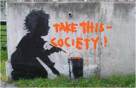 Banksy Take This Society Graffiti - Shepherd's Bush, London