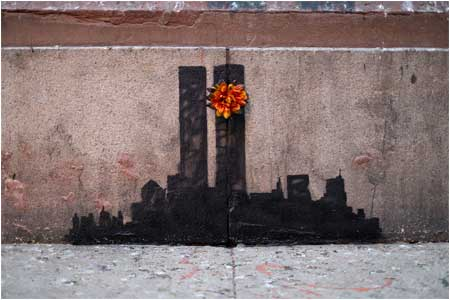 Banksy Twin Towers Graffiti - New York, USA