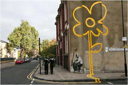 Banksy Yellow Lines Flower Painter Graffiti - London