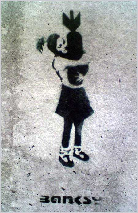 Banksy Girl Bomb Hugger London East End