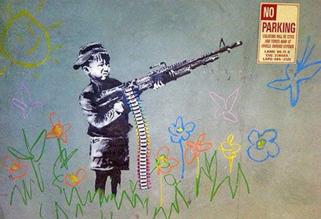 Banksy Child War Soldier Graffiti - Los Angeles, California