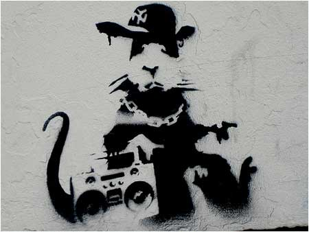 Banksy Gangsta Rat Graffiti - Moorfields Eye Hospital, London