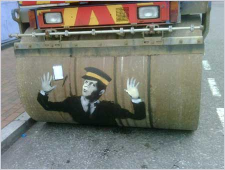 Banksy Steam Roller Traffic Warden - Lewisham London