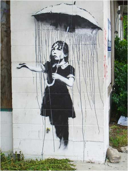 Banksy Umbrella Girl Graffiti - New Orleans, USA