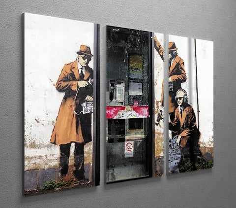 Banksy Cheltenham Telephone Box Spies 3 Split Canvas Print