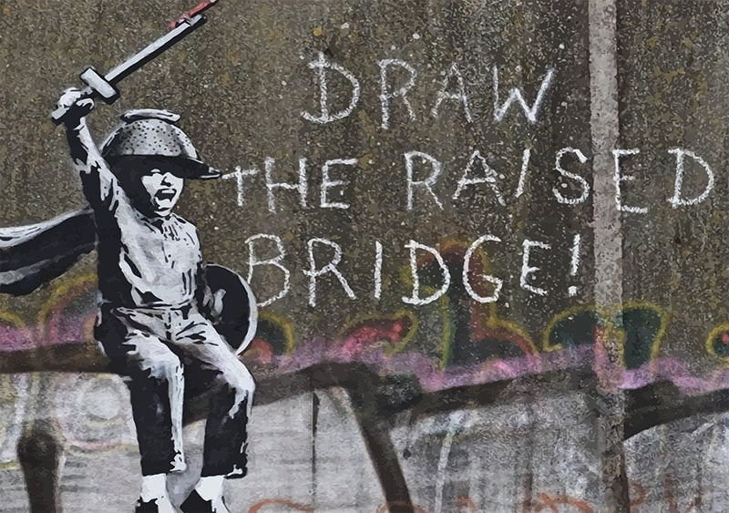 Banksy Hull draw the raised bridge
