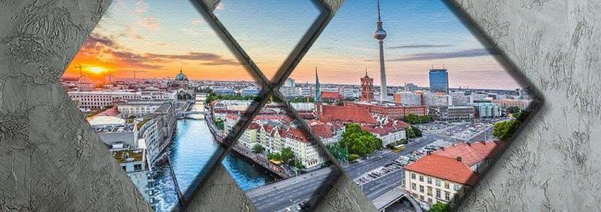 Berlin 4 Square Multi Panel Canvas Prints
