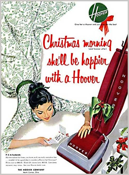 Christmas morning Hoover vintage ad