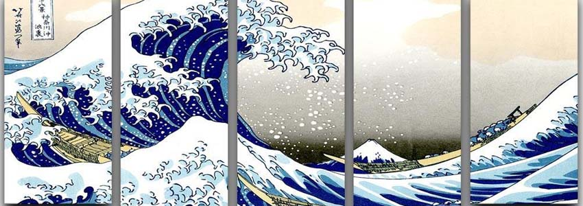 Hokusai 5 Split Panel Canvas Prints