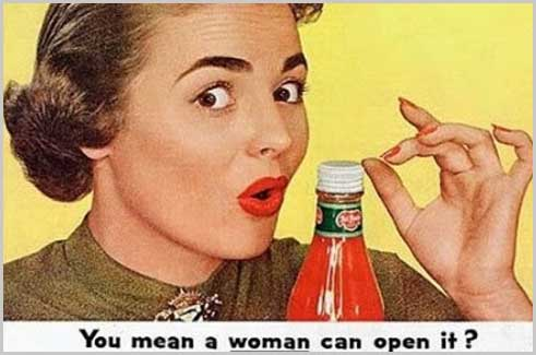Woman opening ketchup bottle ad