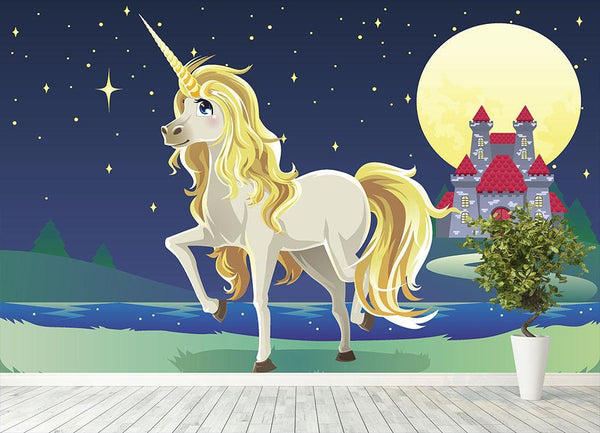 Unicorn outside of a castle Wall Mural Wallpaper