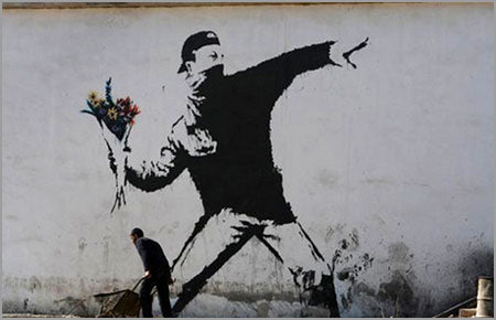 Banksy Rage Flower Thrower - Jerusalem, Israel