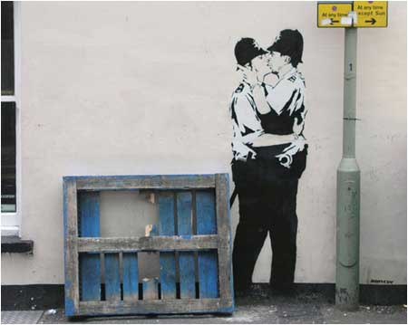 Banksy Kissing Coppers Graffiti - Brighton