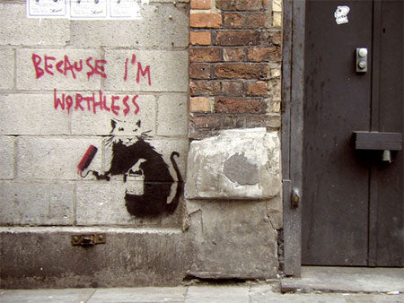 Banksy Rat Becaue I'm Worthless - London
