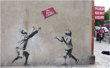 Banksy No Ball Games Graffiti - Turnpike Lane, London