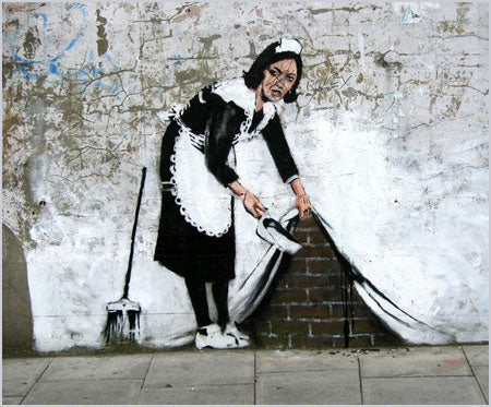 Banksy Maid Sweeping Under The Carpet - Chalk Farm Road, London