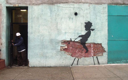 Banksy Rodeo Cowboy Kid Graffiti - New York, USA