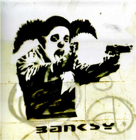 Banksy Gun-Toting Clown Graffiti - Bristol