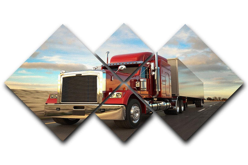 18 Wheel Red Truck 4 Square Multi Panel Canvas  - Canvas Art Rocks - 1