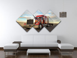 18 Wheel Red Truck 4 Square Multi Panel Canvas  - Canvas Art Rocks - 3