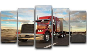 18 Wheel Red Truck 5 Split Panel Canvas  - Canvas Art Rocks - 1