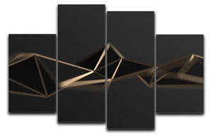 3D Gold Triangluated Surface 4 Split Panel Canvas - Canvas Art Rocks - 1