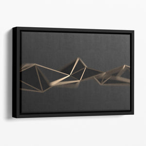 3D Gold Triangluated Surface Floating Framed Canvas - Canvas Art Rocks - 1