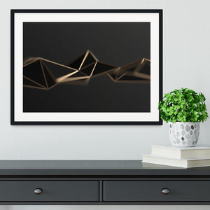 3D Gold Triangluated Surface Framed Print - Canvas Art Rocks - 1