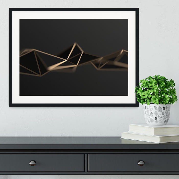 3D Gold Triangluated Surface Framed Print