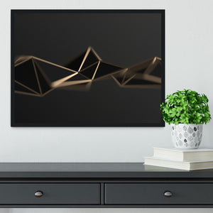 3D Gold Triangluated Surface Framed Print - Canvas Art Rocks - 2