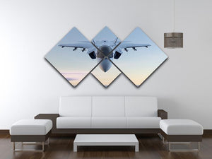 3D Jet F-35 fighter 4 Square Multi Panel Canvas  - Canvas Art Rocks - 3