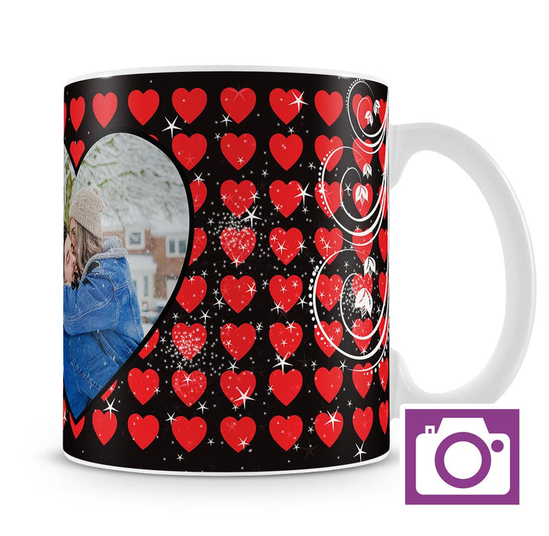 Personalised Mug - Black and Red Heart Mug a