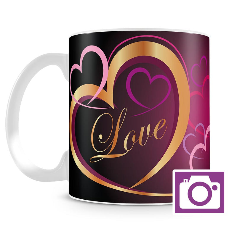 Personalised Mug - Gold Love Heart