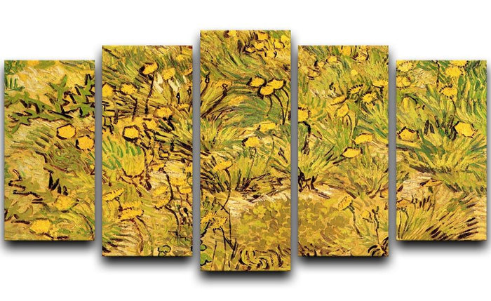 A Field of Yellow Flowers by Van Gogh 5 Split Panel Canvas