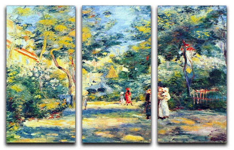 A Garden in Montmartre by Renoir 3 Split Panel Canvas Print - Canvas Art Rocks - 1