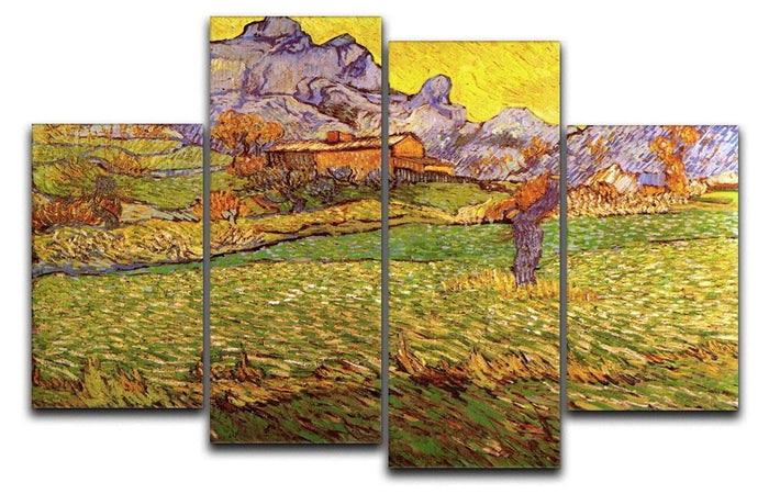 A Meadow in the Mountains Le Mas de Saint-Paul by Van Gogh 4 Split Panel Canvas