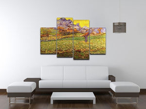 A Meadow in the Mountains Le Mas de Saint-Paul by Van Gogh 4 Split Panel Canvas - Canvas Art Rocks - 3