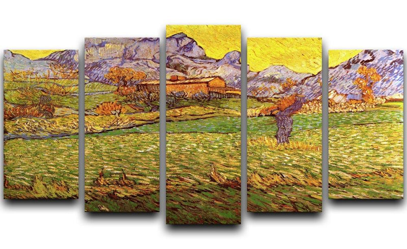 A Meadow in the Mountains Le Mas de Saint-Paul by Van Gogh 5 Split Panel Canvas  - Canvas Art Rocks - 1