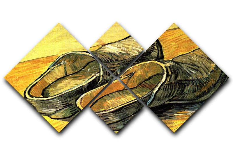 A Pair of Leather Clogs by Van Gogh 4 Square Multi Panel Canvas  - Canvas Art Rocks - 1