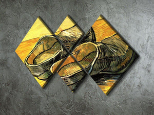 A Pair of Leather Clogs by Van Gogh 4 Square Multi Panel Canvas - Canvas Art Rocks - 2