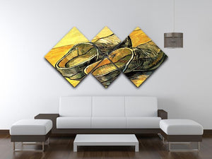 A Pair of Leather Clogs by Van Gogh 4 Square Multi Panel Canvas - Canvas Art Rocks - 3
