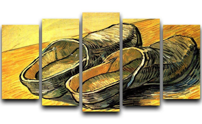 A Pair of Leather Clogs by Van Gogh 5 Split Panel Canvas  - Canvas Art Rocks - 1