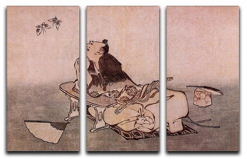 A Philospher looking at two butterflies by Hokusai 3 Split Panel Canvas Print - Canvas Art Rocks - 1
