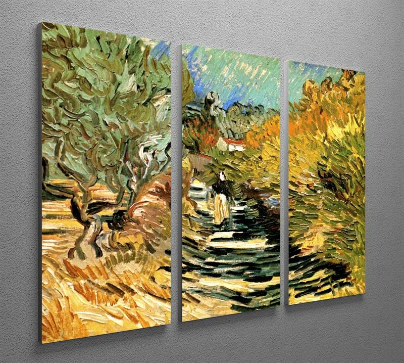 A Road at Saint-Remy with Female Figure by Van Gogh 3 Split Panel Canvas Print - Canvas Art Rocks - 4