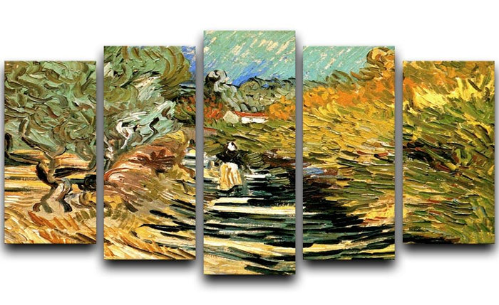 A Road at Saint-Remy with Female Figure by Van Gogh 5 Split Panel Canvas