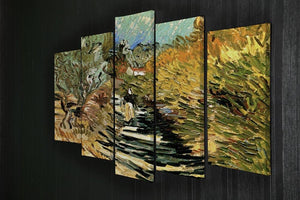 A Road at Saint-Remy with Female Figure by Van Gogh 5 Split Panel Canvas - Canvas Art Rocks - 2